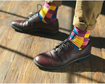 Squares  men's socks.  Mosaic, violet, squares, men's socks. Free delivery!