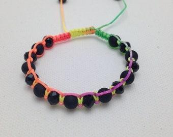 Black bracelet crystal beads shamballa