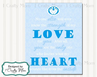 """Nursery Baby Boy Blue """"Only you know what my heart sounds like"""" Artwork Decor Wall Art 8x10 Printable Instant Download"""
