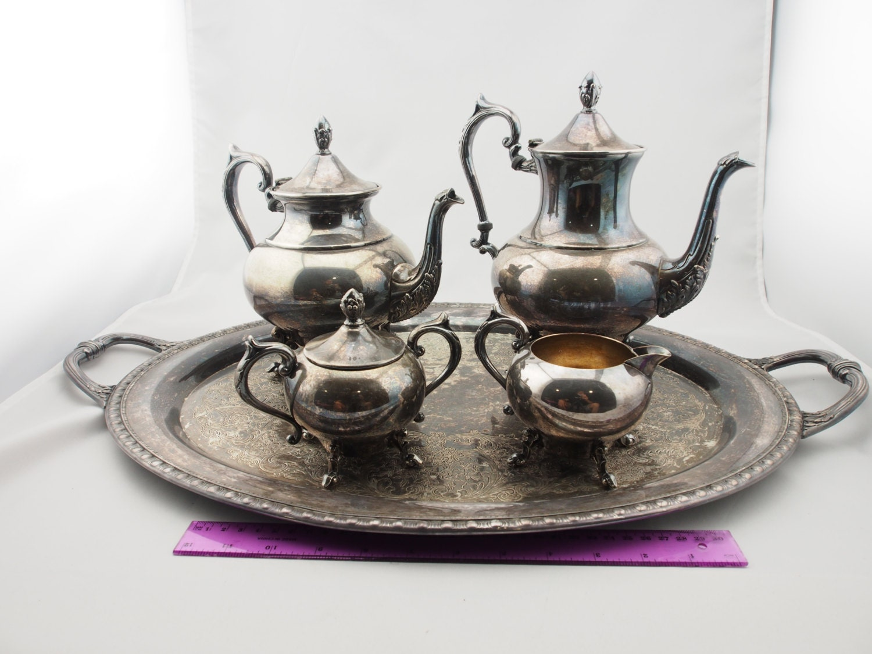 vintage art deco rogers bro tea set silver on by. Black Bedroom Furniture Sets. Home Design Ideas