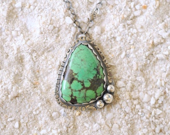 SALE! Green Tibetan Turquoise with black matrices necklace in fine silver and sterling silver / handmade bohemian jewelry / OOAK