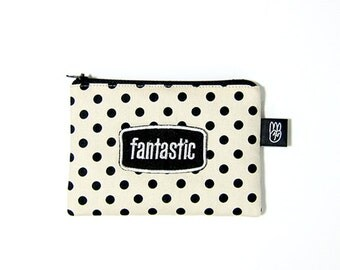 "Cream Polka Dot Coin Purse, Credit Card Purse, Small Zip Pouch, Card Pouch with Embroidered ""Fantastic"" Patch"