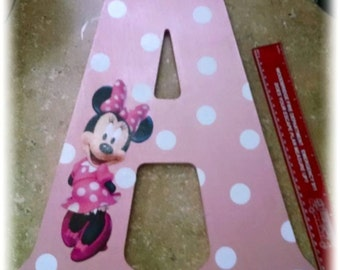 Minnie Mouse Wood Letter/ Initial sign