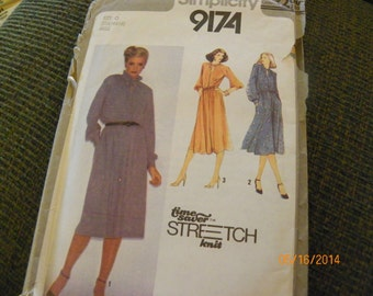 Vintage 1979 Simplicity 9174 Sewing Pattern Misses' Pullover Dress, Time-Saver Stretch-Knit Pattern, Size Miss O (12 14 16)
