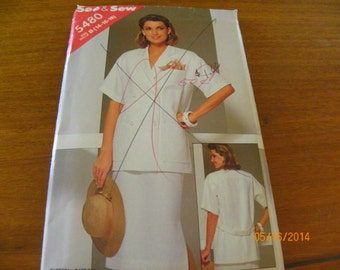 Vintage 1986 Butterick See & Sew 5480 Sewing Pattern Misses' Jacket and Skirt, Size B (14 - 16 - 18)