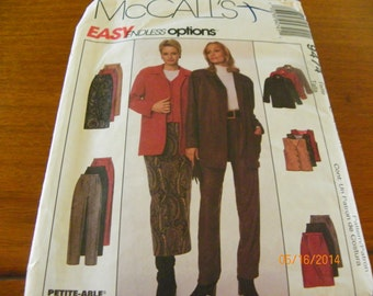 1998 McCall's 9474 Easy Endless Options Sewing Pattern Misses' Unlined Jacket, Lined Vest, Pants, and Skirt In Two Lengths.