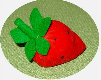 Strawberry Traditional Pin Cushion: Velour and Wool Felt Hand Embroidered