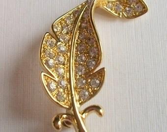 Vintage Rhinestone Brooch, 'Beatrix Jewels' Brooch, Leaf Brooch, Vintage Wedding, Vintage Gift