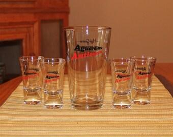 Aguardiente Antioqueno Moji Guaro recipe glass w/four (4) matching shooters
