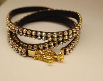 Rhinestone Wrap Bracelet,Layered Leather Bracelet,Rhinestone Bracelet,Triple Wrap Bracelet,Fashion Bracelet,Wrap Bracelet