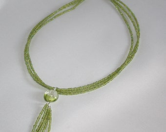 Lime Green Seed Bead Lariat/Pendant Necklace