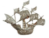 Filigree NAUTICAL SHIP Brooch Pin Sterling Silver 6.04 Grams