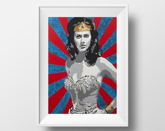 Vintage Wonder Woman Pop Art, Acrylic Art Print , Giclee Print , Wall Art , Wall Décor