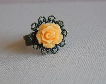 Peach Rose Adjustable Ring, Antique Bronze Finish