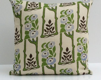 Off White Pillow, Throw Pillow Cover, Decorative Pillow Cover, Cushion Cover, Pillowcase, Accent Pillow, Linen, Lime Green Floral Pillow