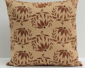 Dark Beige, Light Tan Pillow, Throw Pillow Cover, Decorative Pillow Cover, Cushion Cover, Pillowcase, Linen, Milk Chocolate Floral Pillow