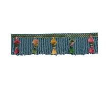 BRUNSCHWIG & FILS FRENCH Passementerie Reve De Papillon Bullion Fringe With Tassels Silk Trim 5 Yards Oriental Blue Rose Multi