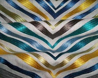 LEE JOFA KRAVET Bargello Embroidery on Linen Fabric 10 Yards Blue Teal  Multi