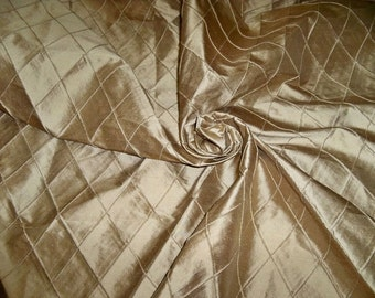 SILK LOOM EDINA Embroidered Diamond Harlequin Silk Fabric 10 Yards Gold