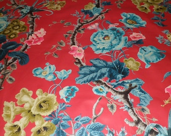 SCHUMACHER ENGLISH COUNTRY Floral Chintz Cotton Toile Fabric 10 yards Multi Rouge Amber