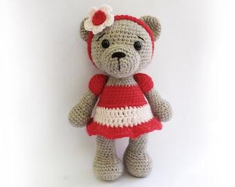 PATTERN : Bear- teddy Bear Girl-Amigurumi bear pattern-Bear-skirt-Classic Bear-Crochet - doll-toy-baby shower
