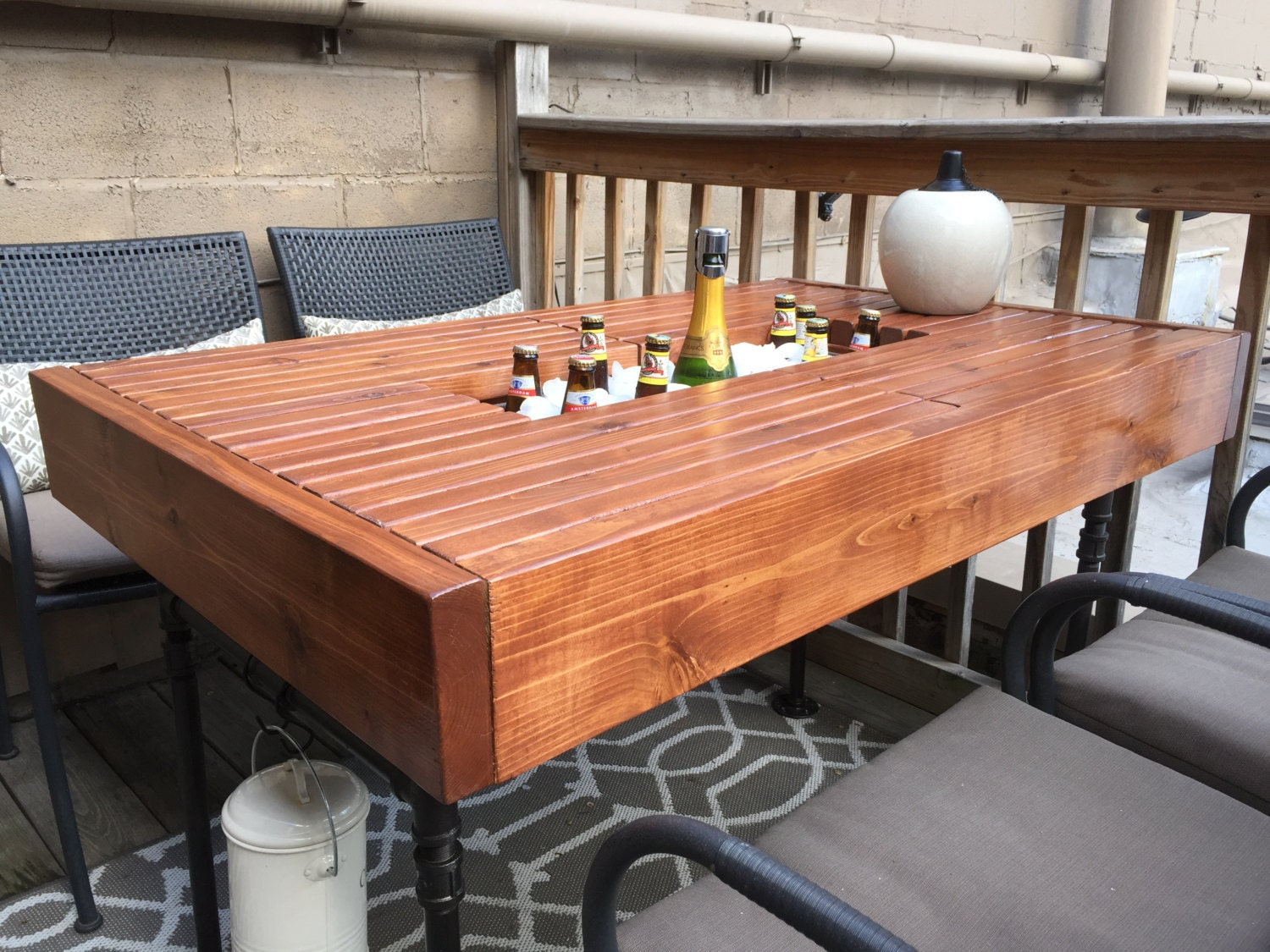 Outdoor patio table with built in hidden cooler and industrial for Table th hidden