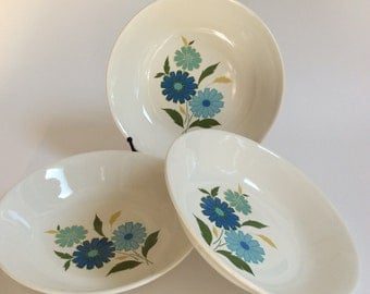 Vintage Blue Floral Cereal Bowls - Set of Three