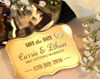 Custom Mirrored Save The Date Magnets Vintage Wedding Save The Date, Personalised Wedding Magnet, Wooden Personalized Wedding magnets