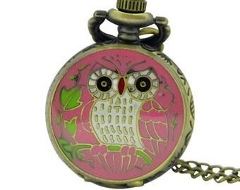 1pcs/ 25mm ,Retro Mini Color Owl pocket watch Necklace,Necklace Pendant,craft supply BM-63