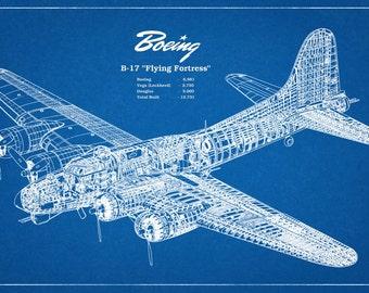 1935 Boeing B17 Flying Fortress WWII Bomber - Airplane - Art Print - Poster - Wall Art - Illustration Drawing War Plane - War Memorabilia