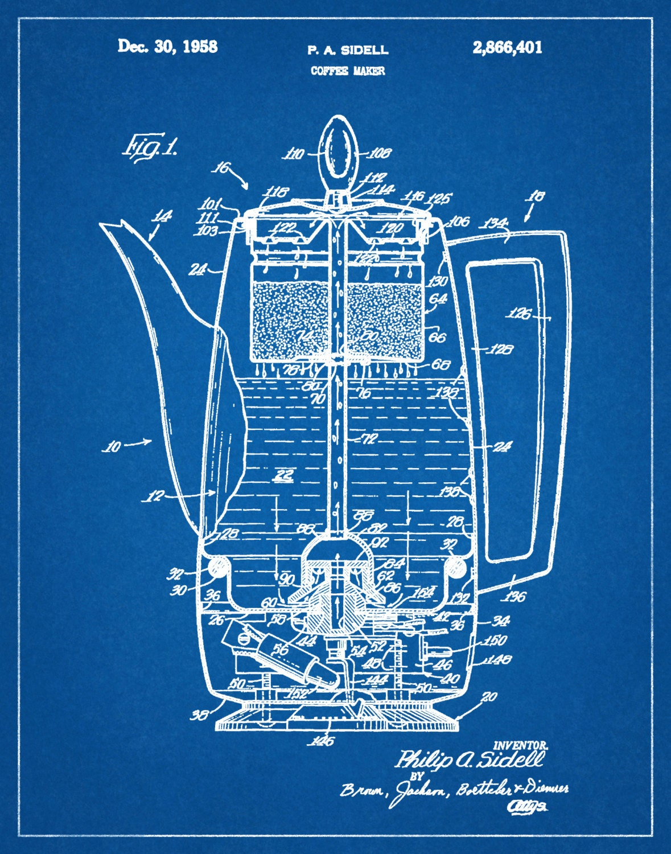 1958 Coffee Pot Patent Wall Art Print Kitchen Decor