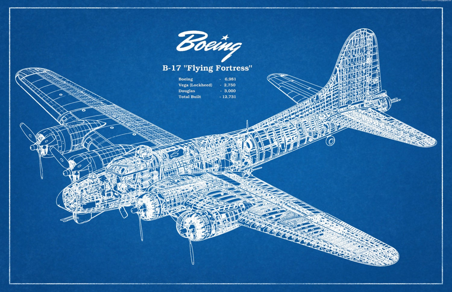1935 Boeing B17 Flying Fortress Wwii Bomber Airplane Art