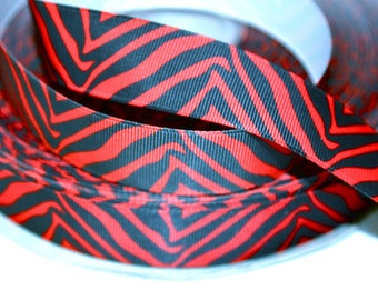 1 inch Red and Black Zebra - Animal Print - Printed Grosgrain Ribbon for Hair Bow