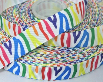 7/8 inch Colorful Zebra on White - Printed Grosgrain Ribbon for Hair Bow