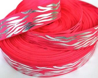 7/8 inch Silver Zebra on Hot Pink (horizontal) Animal Print Printed Grosgrain Ribbon for Hair Bow