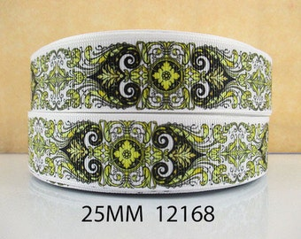 1 inch Elegant and Sophisticated Pattern - Yellow - Style 12168 Printed Grosgrain Ribbon for Hair Bow