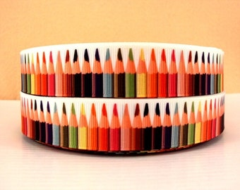 7/8 inch Colorful Pencils Map Colors on White - PENCILS - Back to School - Printed Grosgrain Ribbon or Hair Bow