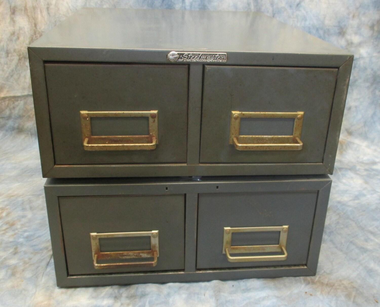 pair 2 drawer steelmaster metal filing cabinet file vintage. Black Bedroom Furniture Sets. Home Design Ideas