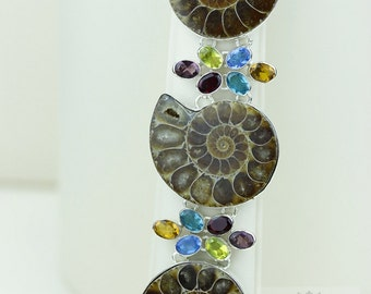 Madagascar AMMONITE FOSSIL Multi Stone 925 Solid Sterling Silver Bracelet & Free Worldwide Shipping B1518
