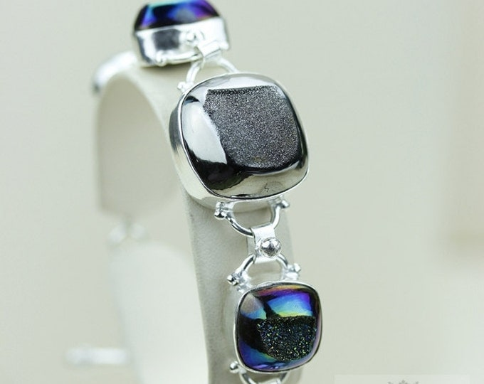 Midnight Titanium DRUSY Combined with Platinum DRUZY 925 S0LID Sterling Silver Bracelet & FREE Worldwide Express Shipping B616