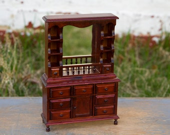 Wooden Hutch with Mirror - 1:12 Scale Dollhouse Furniture