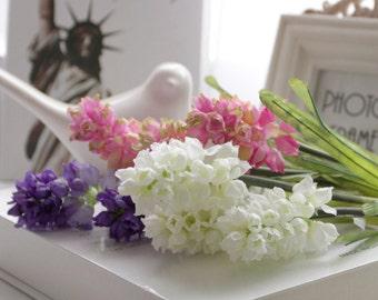 4 pcs Silk Artificial Hyacinth,Pink/White/Purple Flowers,Bridemaid Bouquet,Bridal Wedding Party,Decor Floral Supplies(122-46)