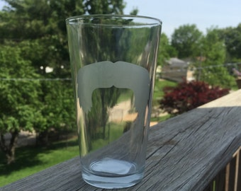 Mustache Pint Glasses-- Etched