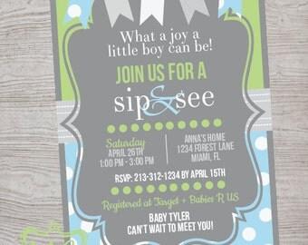 Blue and Green Sip and See Invitation - Dot Bottom - 5x7 Digital Printable Invitation