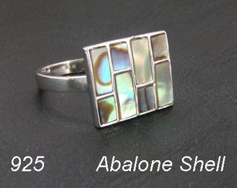 Sterling Silver Ring with Gorgeous Abalone Shell. Simply Stunning 925 Sterling Silver Ring  with Gorgeous Colors, Size 8.5 | Silver Ring 213