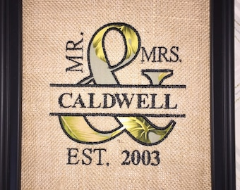 Mr &  Mrs Embroidered and Appliqued