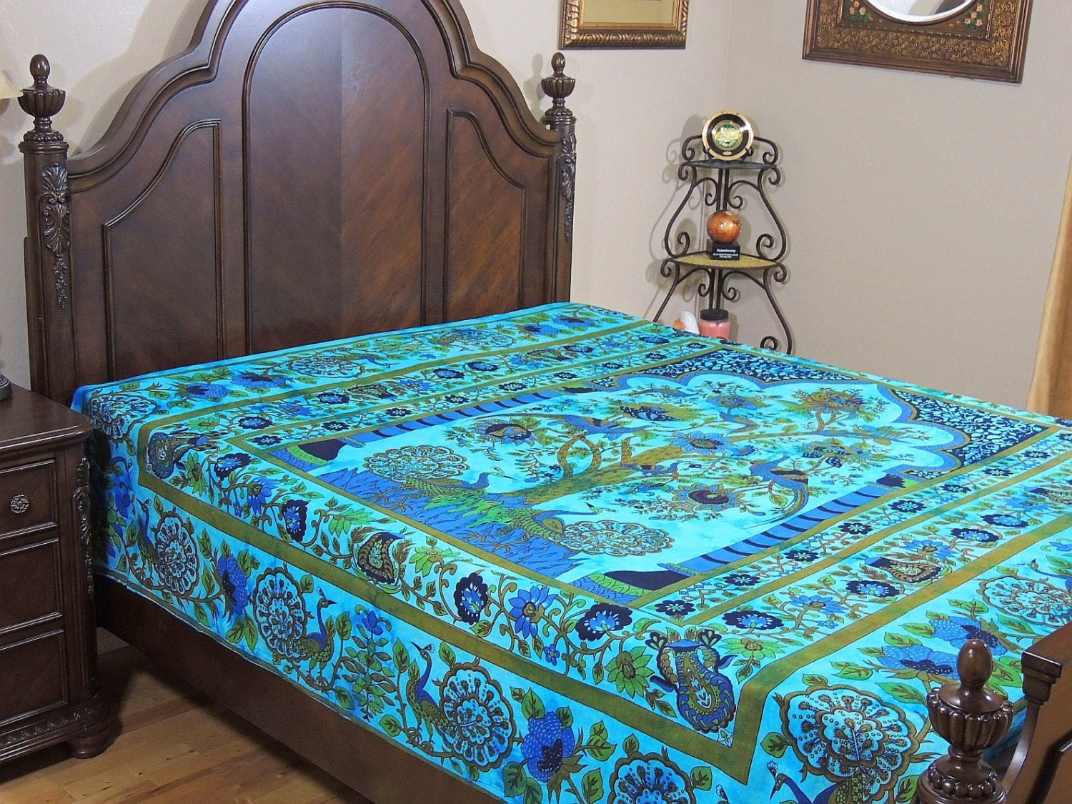 Peacock Bedding Blue Tree of Life Combination Cotton Print