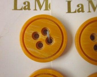 """4 Vintage Buttons, La Mode 7/8"""" Dark Butterscotch Plastic, Four-hole Sew-through, 2 Cards"""