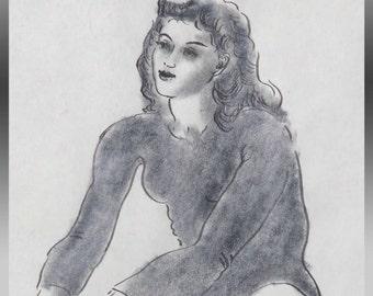 "VINTAGE ART/WALLHANGING, Edward Hagedom, Original Pencil/Pen Drawing, circa 1960s(?), 11"" x 17"" - Free Shipping!"