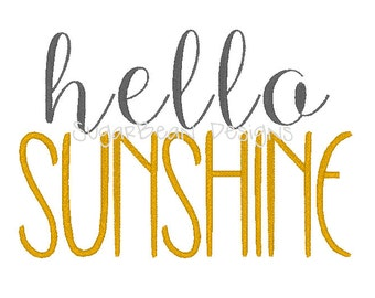 Hello Sunshine Embroidery Design. Two Sizes Included. Script Machine Embroidery Design.